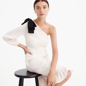 J. Crew One Shoulder Dress With Bow Detail